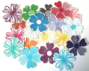 20 Colourful Hand Stamped Flower Die Cuts Floral Toppers Cardmaking Scrapbooking