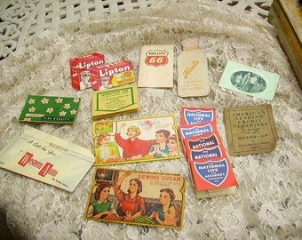 Vintage 1940's-50's Advertising Sewing Needle Booklets /Milk, Insurance, Gas, Lipton Tea Lot of 15