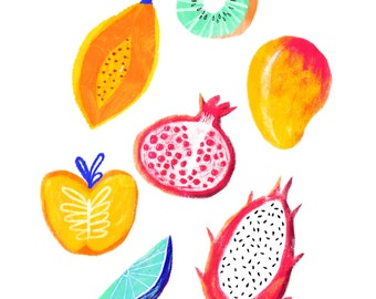 Tropical fruit art print - A4 or A3