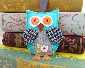 blue wool felt owl ornament with hand embroidery