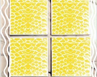 Yellow Snake Skin Tile Coaster Set