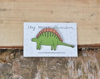 Illustrated stegosaurus dinosaur brooch/pin