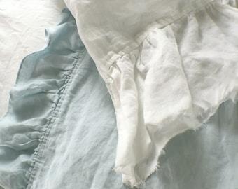 Frayed Ruffle Pillowcase Shabby Chic Linen White Raw Edge Ruffle Pillowcase Washed High Quality Luxury Pillowcase Standard Set 2