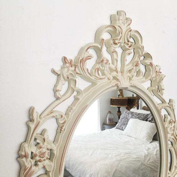 Baroque oval mirror white and rose gold mirror nursery for Baroque bathroom mirror