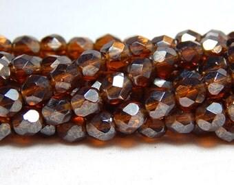 6mm Topaz Luster Czech Beads, Smoky Topaz Beads, Topaz Beads, Luster Czech Beads, Smoky Topaz Luster Beads, Dark Yellow Beads, D-B23
