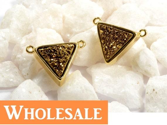 Triangle Druzy WHOLESALE in Golden Brown, Brown Druzy Connector, Natural Titanium Agate Drusy Gemstone Jewelry  - 1 pc/ pkg
