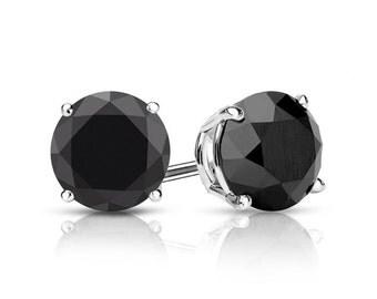 2.17ct Black Diamond Stud Earrings