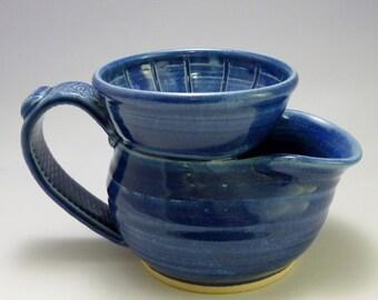 Shaving Scuttle-Old Style, Wheel-thrown Stoneware, Cobalt Blue