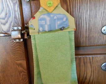 Hanging Hand Towel with Vintage Airstream Trailer Print