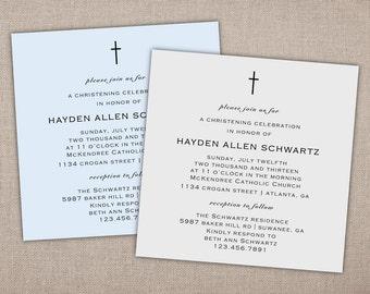 BAPTISM - Invitation, Square Baptism Invitation, Religious Celebration Invitation, Modern Christening Invitation, Baby Dedication Invitation