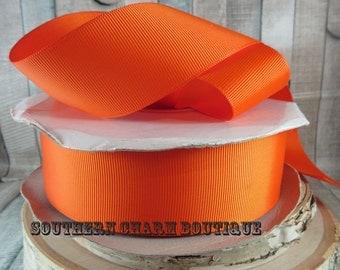 """3 yards 1 1/2"""" Hunters Orange Grosgrain ribbon"""