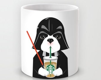 Personalized mug cup designed PinkMugNY - I love Starbucks - French Bulldog wearing a Darth Vader costume