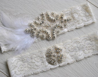 Crystal Wedding Garter Set Ivory, Bridal Garter Set, Vintage Great Gatsby Lace Garter, Feather Crystal Rhinestone Garter and Toss Garter Set