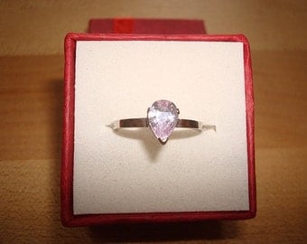 Pear Cut Lavender Ice Light Purple Silver Ring Size 5.5
