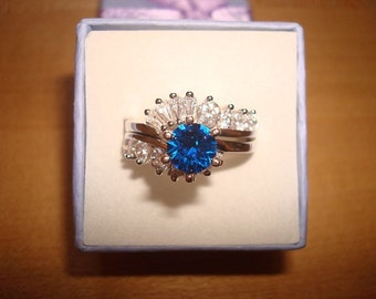 Diamond Cut Blue And White Sapphire 925 Sterling Silver Engagement / Wedding Ring Set Size 8