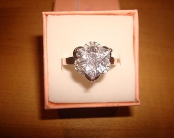 Trillion Cut And Diamond Cut White Sapphire 925 Sterling Silver Engagement Ring Size 7.75