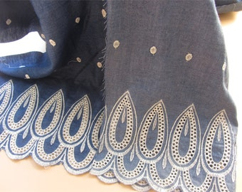 Embroidery lace fabric,Denim fabric -LSMEN002