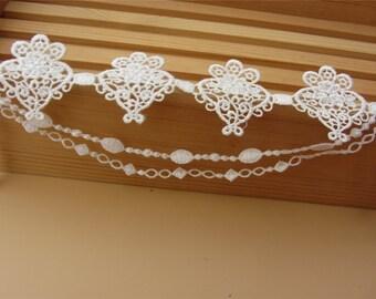 tassels lace ,white Vintage flower Lace Fabric / Lace Ribbon / Lace Trim / Solubility Lace / white Lace Trim
