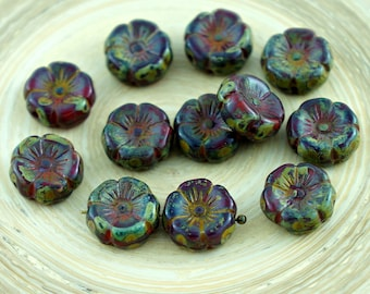 10pcs Rustic Picasso Brown Ruby Red Czech Glass Flat Carved Hawaiian Flower Beads Coin 12mm