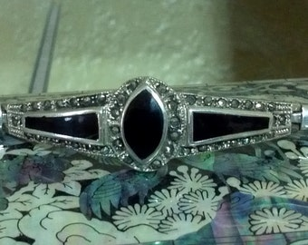 Vintage 1920s  Art Deco Style Sterling Silver Marcasite and Onyx Bracelet/Wedding Gift/Gift for her