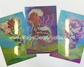 Three Holographic Glitter foiled Xolor Kids