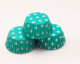 48 Teal and White Polka Dot Mini Size Cupcake Liners Baking Cups Greaseproof