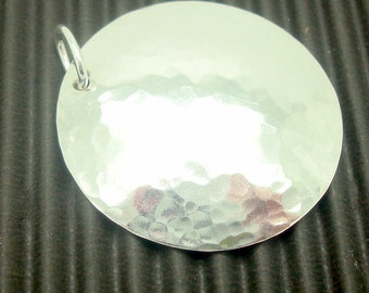 Medium Hammered Silver Disc Pendant in the 1 Inch Size