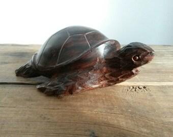 Small Vintage Wooden Turtle Figurine