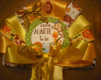 Baby shower Aunt / Auntie jungle safari corsage