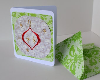 Christmas ornament card. Holliday card.