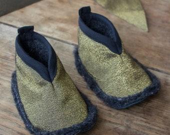 golden slippers etsy. Black Bedroom Furniture Sets. Home Design Ideas