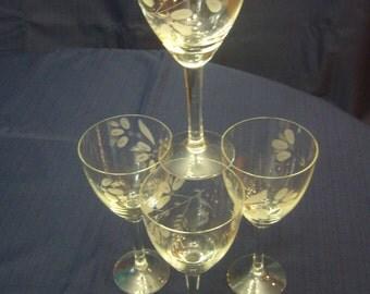 Vintage Set of Four (4) Etched Stemmed Wine Glasses