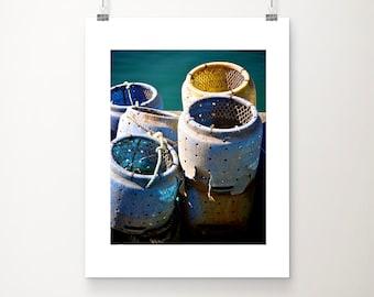 Still life photography, seaside art, colour print, teal, yellow, white, blue, original fine art print - Crab pots