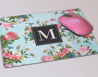 Fabric Mousepad, Mousemat, 5mm Black Rubber Base, 19 x 23 cm - Vintage Floral Pattern Monogrammed Mousepad Mousemat
