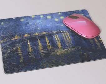 Fabric Mousepad, Mousemat, 5mm Black Rubber Base, 19 x 23 cm - Starry Night Over The Rhone by Vincent Van Gogh Mousepad Mousemat