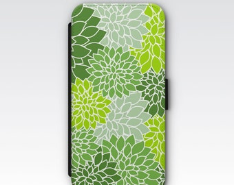 Wallet Case for iPhone 8 Plus, iPhone 8, iPhone 7 Plus, iPhone 7, iPhone 6, iPhone 6s, iPhone 5/5s - Green Dahlias Floral Case