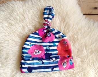 Baby Hat, Stripe Floral Beanie, Top Knot Beanie, Newborn Hat, Soft Hat, Baby Shower Gift, Baby Girl Gift