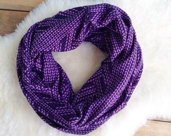 Infinity Scarf, Faux Knit Scarf, Purple Knit Scarf, Eternity Scarf, Winter Scarf, Loo Scarf