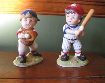 Set of 2 Vintage Homco Baseball Player Kids Figurines #1468