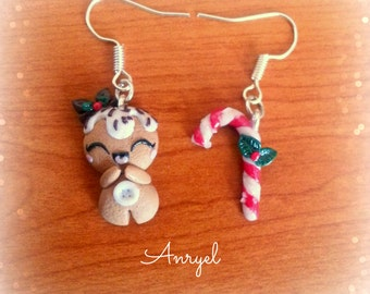 Christmas earrings - Gingerbread man and candy cane Epiphany perfect gift present kawaii handmade polymer clay