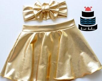 Girls Gold Circle Skirt Set.  Headband and Skirt.  Baby and Toddler sizes.  Summer Skirt. Girls Twirl Skirt