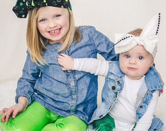 St. Patricks Day Metallic Lime Green Leggings Girls Sizes 3M - 7 Baby/Toddler