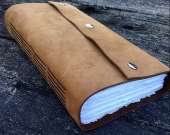 light brown wrap ledger - journal - watercolor paper