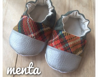 Soft soles slippers baby shoes ergonomic first steps vintage plaid and silver vegan footwear