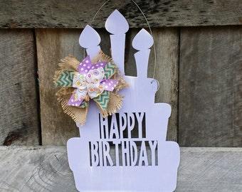 Happy Birthday Door Hanger - Birthday Party Wreath - Birthday Party Decor
