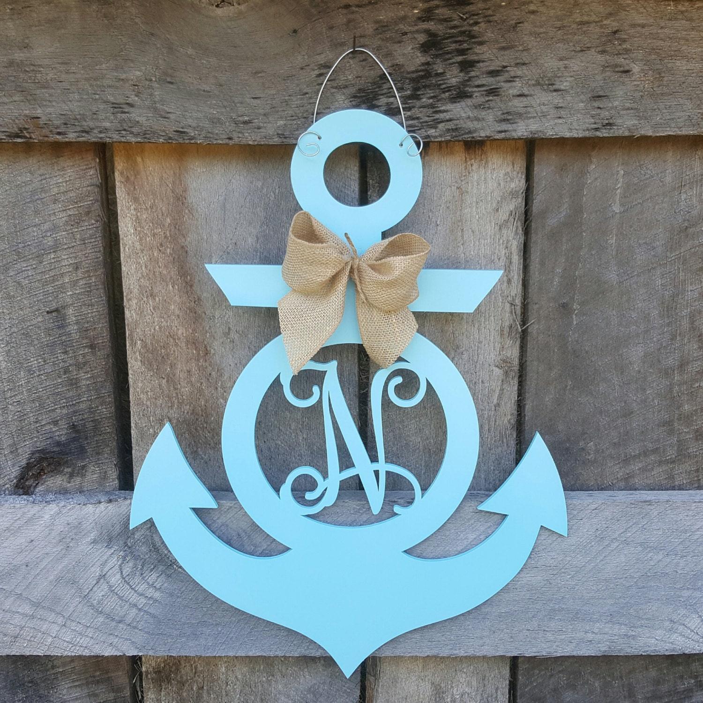 Personalized Anchor Door Hanger - Initial Anchor Wreath - Anchor Wall Hanging - Summer Wreath - Beach -Nautical - Lake - Door Hanger & Personalized Anchor Door Hanger - Initial Anchor Wreath - Anchor ... Pezcame.Com