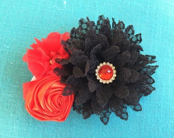 Bright red and black flower headband