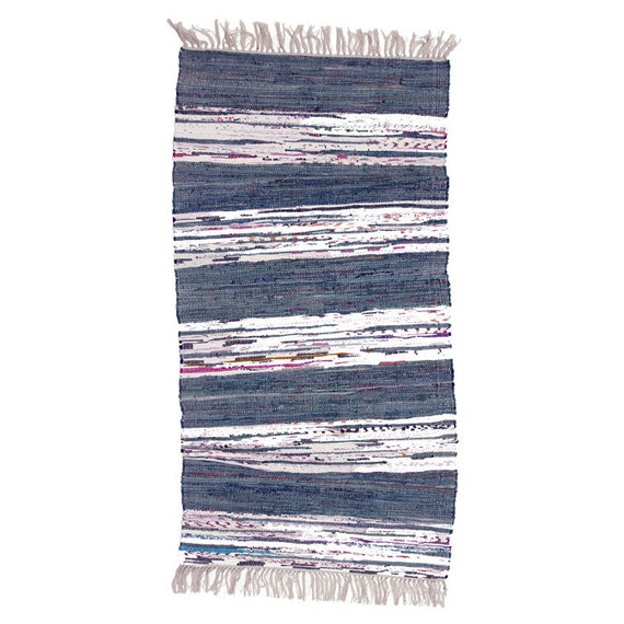 Blue And White Scandinavian Rug: Navy Blue And White Stripe Scandinavian Rag Rug By Skandihome