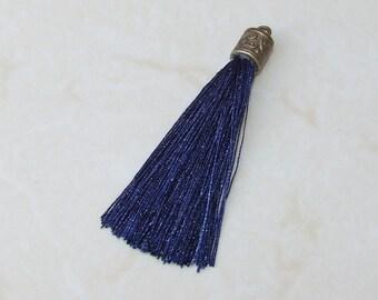 Tassel, Blue Silk Tassel, Tassel Pendant, Antique Gold Cap - 2.5 inches