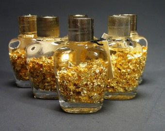 REAL GOLD in a Bottle! 24kt Pure Gold Leaf Flakes Bottle Of Gold Novelty Gift Item Great for Kids and Adults Alike!